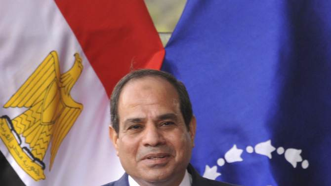 Egyptian President Sisi speaks during celebrations ahead of the 41st anniversary of the October 6, 1973 surprise attack, in Cairo