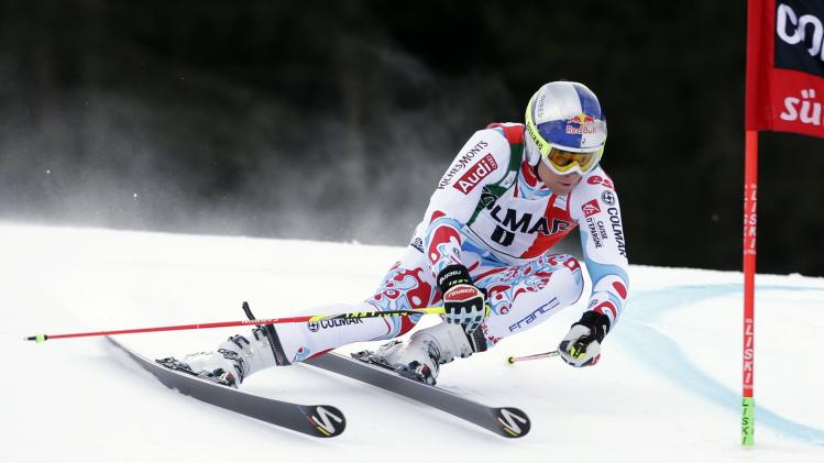 Pinturault of France clears a gate during the first run in the men's World Cup giant slalom skiing race in Alta Badia