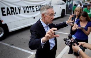 Harry Reid speaks to reporters.