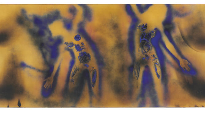"This undated image provided by Christie's New York shows ""FC1"" by French artist Yves Klein, which is expected to sell for up to $40 million at a Christie's  auction in May 2012. It was made in 1962, a few weeks before Klein's death at age 34, with water, a blowtorch and two models. (AP Photo/Christie's)"