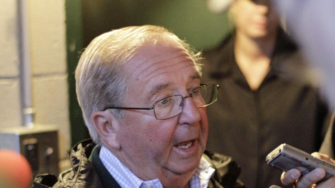 """Hall of Fame trainer Claude R. """"Shug"""" McGaughey talks about his first Kentucky Derby victory at Churchill Downs, Sunday, May 5, 2013, in Louisville, Ky. McGaughey-trained Orb won the 139th Kentucky Deby on Saturday. (AP Photo/Garry Jones)"""