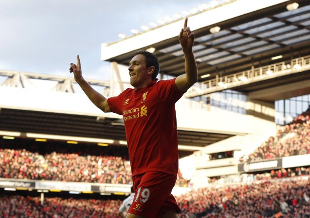 Liverpool's Downing celebrates scoring against Tottenham  Hotspur during their English Premier League soccer match in Liverpool