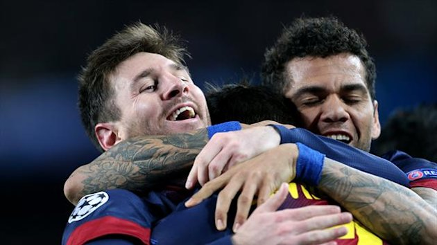 Lionel Messi, left, netted a brace as Barcelona knocked AC Milan out of the Champions League
