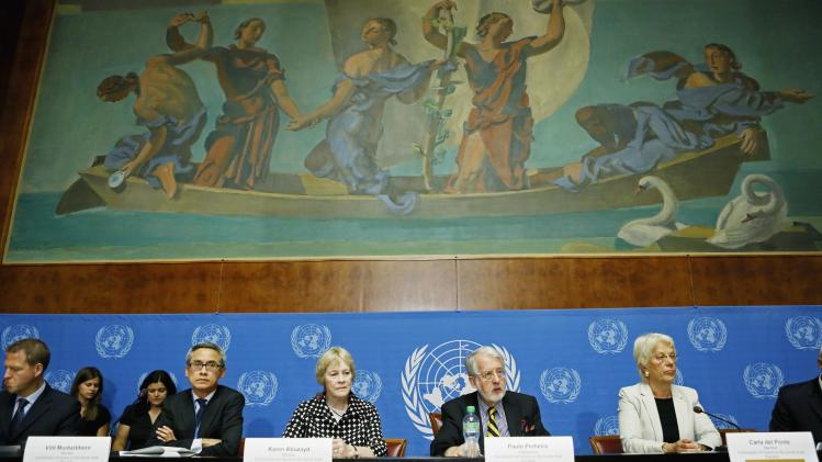 Members of Independent International Commission of Inquiry on Syrian Arab Republic, attend news conference at United Nations headquarters in Geneva