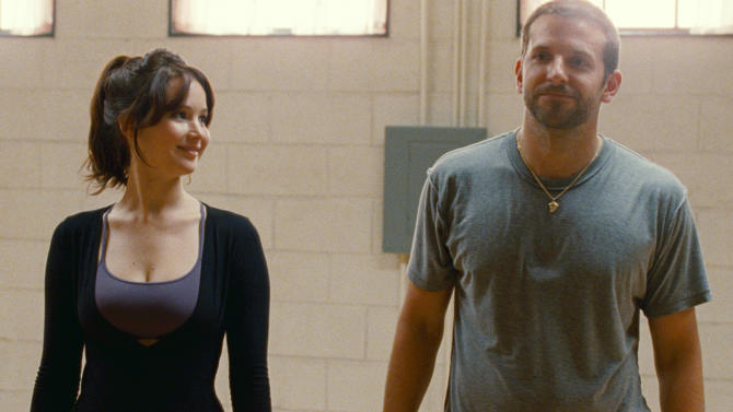 """FILE -This film image released by The Weinstein Company shows Jennifer Lawrence, left, and Bradley Cooper in """"Silver Linings Playbook."""" The Weinstein Company's film is earning boffo business above $100 million in ticket sales following co-chairman Harvey Weinstein's familiar script of making the most of awards season. The 85th Academy Awards air live on Sunday, Feb. 24, 2013, on ABC. (AP Photo/The Weinstein Company, JoJo Whilden, File)"""