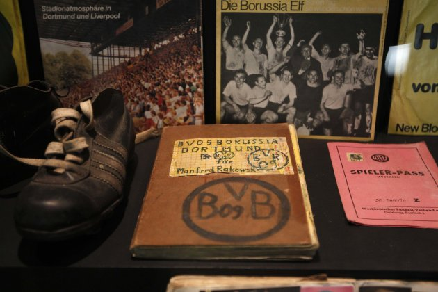A self-made book of Borussia Dortmund is presented at the 'Borusseum' museum of the Signal Iduna Park in Dortmund
