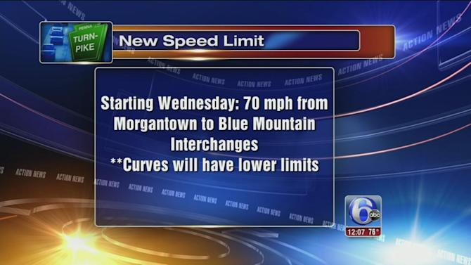 Stretch of Pa. Turnpike goes to 70 mph Wednesday