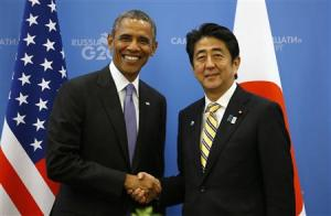 U.S. President Obama shakes hands with Japanese PM Abe at the G20 Summit in St. Petersburg