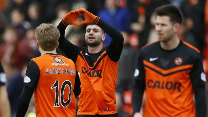 Dundee United's Ciftci celebrates his goal against Celtic during their Scottish Premier League soccer match at Tannadice Park Stadium in Dundee
