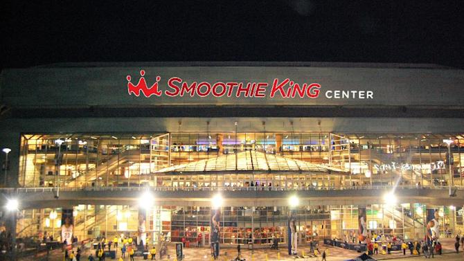 "This artist rendering released by Smoothie King shows how the current New Orleans Arena will likely look after it is renamed to the Smoothie King Center, Monday, Feb. 3, 2014. The New Orleans Pelicans and Louisiana-based Smoothie King have reached a 10-year agreement to rename the New Orleans Arena as the Smoothie King Center. Pelicans president Dennis Lauscha calls the deal ""gigantic"" as it relates to the long-term financial viability of the NBA team in small-market New Orleans. Team and company officials declined to release financial terms of the deal, which also gives Smoothie King the option for a 10-year extension. (AP Photo/Smoothie King)"