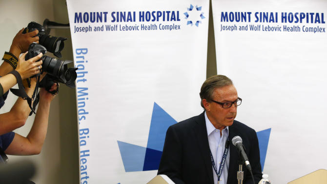 Dr. Zane Cohen of Mount Sinai Hospital speaks to media about the condition of Toronto mayor Rob Ford during a news conference in Toronto
