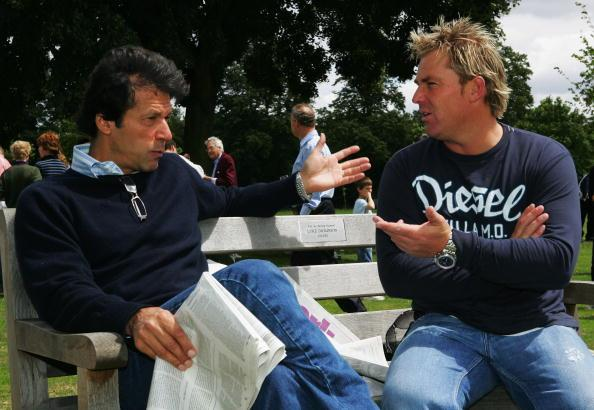 KINGSTON UPON THAMES, UNITED KINGDOM - JULY 14:  Imran Khan talks to Shane Warne at the HACAN Charity Cricket Match on Ham Common on July 14, 2007 in Kingston upon Thames, London.  (Photo by Clive Ros