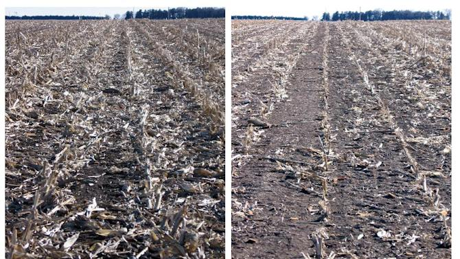 This undated combo photo, provided by the University of Nebraska-Lincoln, shows corn residue after grain harvest, left, adjacent to a field section where corn residue was baled and removed after grain harvest in Jefferson County, Neb. Biofuels made from corn leftovers after harvest are worse than gasoline for global warming in the short term, challenging the Obama administration's conclusions that they are a cleaner oil alternative from the start and will help climate change. (AP Photo/The University of Nebraska-Lincoln)