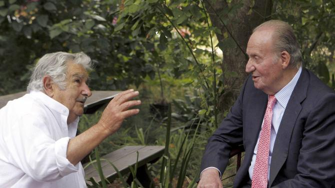 Former Uruguayan President Jose Mujica and Spanish King Juan Carlos meet at Mujica's farm in the outskirts of Montevideo