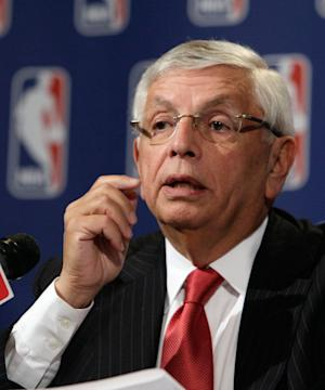 NBA Commissioner David Stern answers a question at a news conference after the NBA Board of Governors meetings, in New York,  Friday, April 13, 2012. Tom Benson brought stability to the Saints nearly three decades ago and now plans to do the same for the Hornets in small-market New Orleans. The Saints' owner agreed Friday to purchase the Hornets from the NBA.  (AP Photo/Richard Drew)