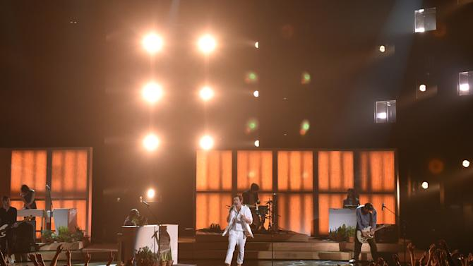 Nate Ruess performs on stage at the iHeartRadio Music Awards at The Shrine Auditorium on Sunday, March 29, 2015, in Los Angeles.  (Photo by John Shearer/Invision for iHeartRadio/AP Images)
