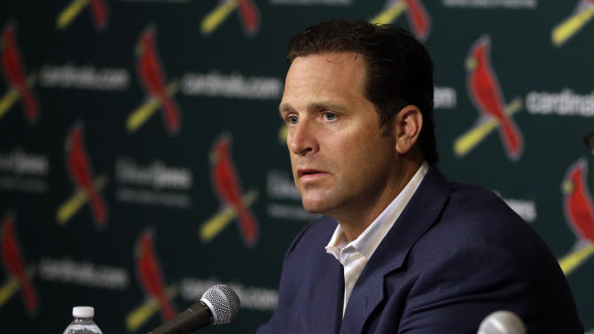 St. Louis Cardinals manager Mike Matheny talks about the future of Cardinals pitcher Chris Carpenter during a baseball news conference Tuesday, Feb. 5, 2013, in St. Louis. The Cardinals announced Carpenter will not pitch in the 2013 season and his future with the club is uncertain due to a lingering injury. (AP Photo/Jeff Roberson)
