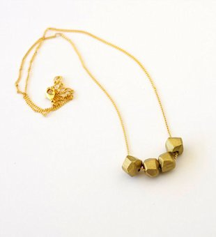 Gold Dipped Geo Beaded Necklace