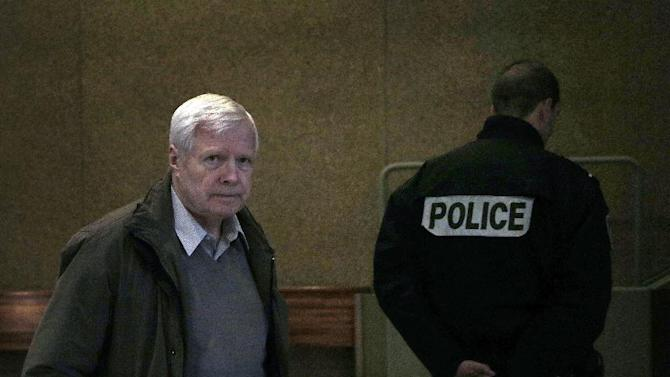 Andre Bamberski, the father of Kalinka, a girl who died in Germany in 1982 aged 15, arrives at the Creteil courthouse on the last day of Krombach's appeal, outside Paris, Thursday, Dec. 20, 2012. A French court hears the appeal of an elderly German doctor, convicted in the 1982 death of his 15-year-old stepdaughter after a decades-long cross-border battle for justice by the girl's father. (AP Photo/Christophe Ena)