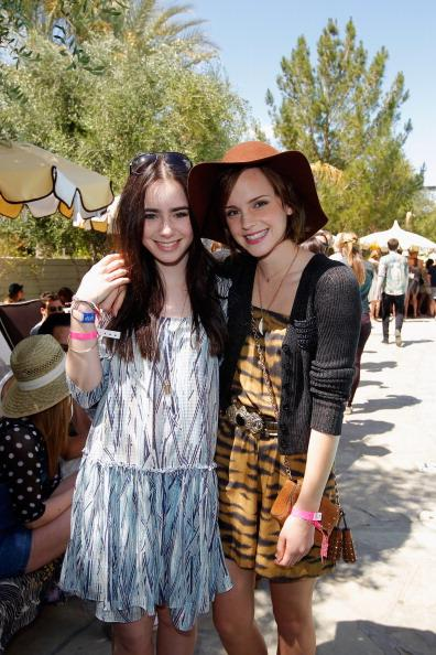 PALM SPRINGS, CA - APRIL 14: Actors Lily Collins and Emma Watson attend Mulberry BBQ Pool Party at Coachella at the Parker Palm Springs on April 14, 2012 in Palm Springs, California. (Photo by Donato Sardella/WireImage)