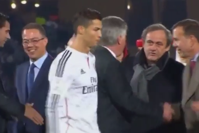 Watch Cristiano Ronaldo refuse to shake hands with the UEFA president