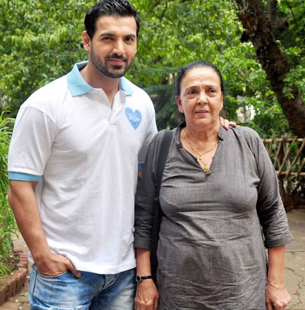 John Abraham with his mom | Veethi
