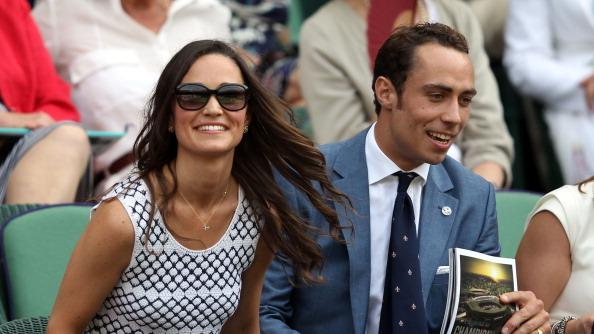 Pippa Middleton and James Middleton watch the Gentlemen's Singles second round match between Andy Murray of Great Britain and Ivo Karlovic of Croatia on day four of the Wimbledon Lawn Tennis Championships at the All England Lawn Tennis and Croquet Club on June 28, 2012 in London, England. (Photo by Clive Rose/Getty Images)