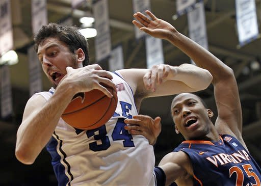 No. 8 Duke holds off No. 16 Virginia 61-58