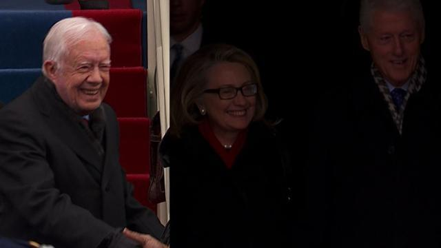 Former U.S. Presidents Carter, Clinton arrive at inauguration 2013