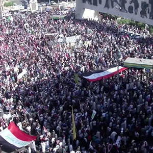 Raw: Thousands Protest US Campaign in Iraq