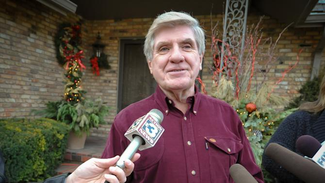 U.S. Sen. Ben Nelson, D-Neb., announces his retirement from the U.S. Senate, Tuesday, Dec. 27, 2011 outside of his home in Omaha, Neb. Nelson said he will retire rather than seek a third term next year, dealing a significant setback to Democratic efforts to maintain control of the chamber. (AP Photo/Dave Weaver)