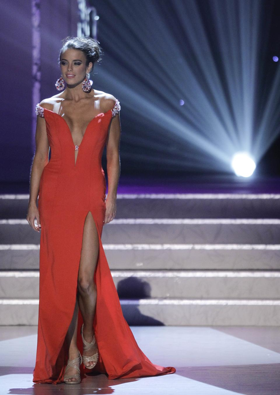 Madeline Mitchell, Miss Alabama, competes in the evening gown competition during the 2011 Miss USA pageant, Sunday, June 19, 2011, in Las Vegas.  (AP Photo/Julie Jacobson)