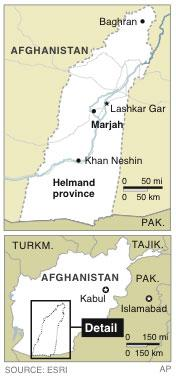 Map locates Marjah in Helmand province, Afghanistan