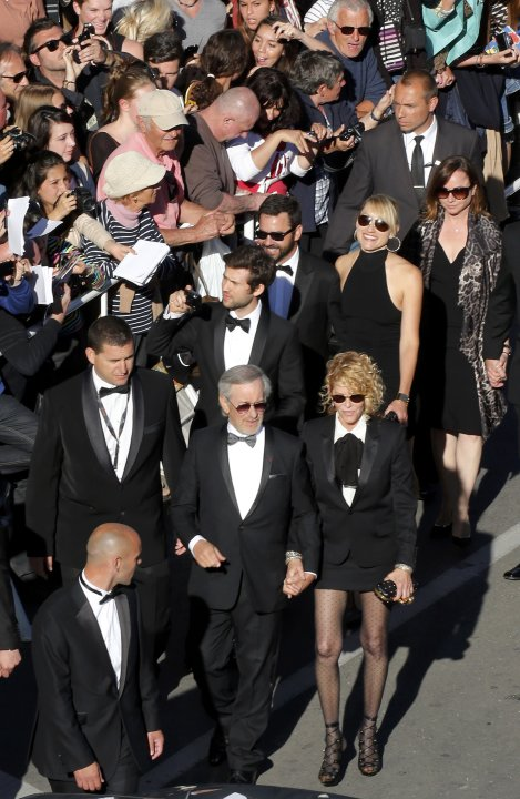 "Jury President of the 66th Cannes Film Festival Steven Spielberg and his wife Kate Capshaw arrive for the screening of the film ""La Venus a la Fourrure"" in competition during the 66th Cannes Film Fest"