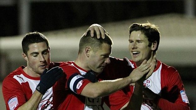 Crawley's Gary Alexander, middle, scored in his side's win at former club Leyton Orient