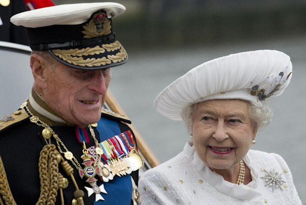 Britain&#39;s Queen Elizabeth and Prince Philip leave from Chelsea Harbour in London on a launch on the first part of their journey in the Diamond Jubilee River Pageant Sunday June 3, 2012 . More than 1,000 boats will sail down the River Thames on Sunday in a flotilla tribute to Queen Elizabeth II&#39;s 60 years on the throne that organizers are calling the biggest pageant on the river for 350 years. (AP Photo/Eddie Mulholland, Pool)