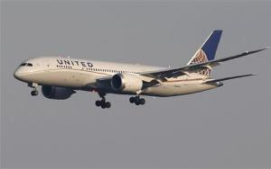 A United Airlines' Boeing Co's 787 Dreamliner plane approaches to land at New Tokyo international airport in Narita, east of Tokyo