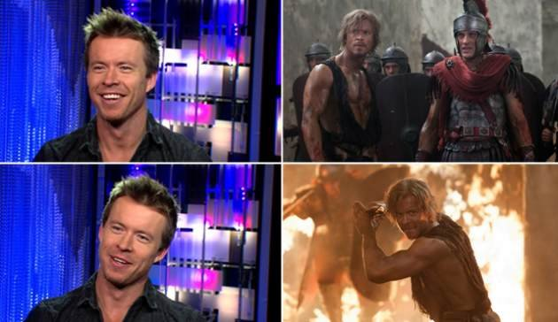 Todd Lasance visits Access Hollywood (left), Todd as Julius Caesar on &#39;Spartacus: War of the Damned&#39; (right)