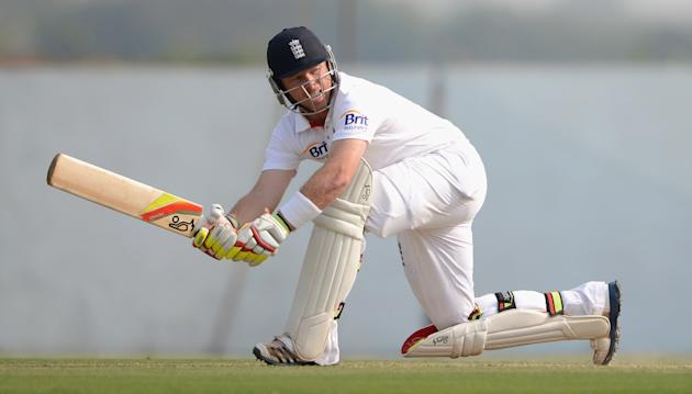Ian Bell of England bats during the tour match between England and Haryana at Sardar Patel Stadium ground B on November 8, 2012 in Ahmedabad, India. (Photo by Gareth Copley/Getty Images)