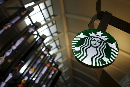 A Starbucks store is seen inside the Tom Bradley terminal at LAX airport in Los Angeles