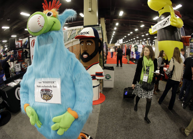 <p>               Team mascots are displayed at the baseball winter meetings trade show. Tuesday, Dec. 4, 2012, in Nashville, Tenn. Companies pitch their wares to both major and minor league teams, and that includes every product imaginable. (AP Photo/Mark Humphrey)
