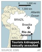Map locates Rio de Janeiro where tourists were attacked and one was sexually assaulted aboard a public transport van