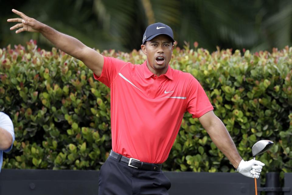 Tiger Woods gestures as his ball lands in the rough on the eighth fairway during the third round of the Cadillac Championship golf tournament on Sunday, March 10, 2013, in Doral, Fla. (AP Photo/Wilfredo Lee)