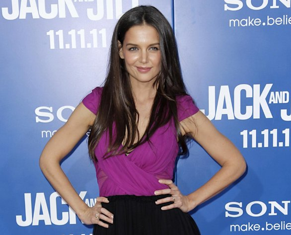 FILE - This Nov. 11, 2011 file photo shows actress Katie Holmes at the premiere of &quot;Jack and Jill&quot; in Los Angeles. Holmes will star in Theresa Rebecks new play, &quot;Dead Accounts,&quot; a five character comedy, directed by three-time Tony Award winner Jack OBrien. The play will open on Broadway this fall at the Music Box Theatre in New York. (AP Photo/Matt Sayles, file)