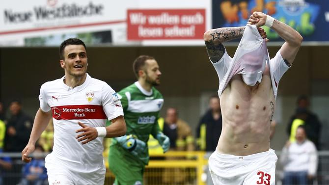 VFB Stuttgart's Ginczek celebrates scoring a goal against SC Paderborn during their German Bundesliga first division soccer match in Paderborn