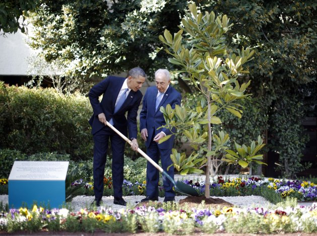 U.S. President Barack Obama participates in the planting of a magnolia tree from the White House, at the residence of Israel's President Shimon Peres (R) in Jerusalem, March 20, 2013. Making his first official visit to Israel, Obama pledged on Wednesday unwavering commitment to the security of the Jewish State where concern over a nuclear-armed Iran has clouded U.S.-Israeli relations. REUTERS/Jason Reed (JERUSALEM - Tags: POLITICS)
