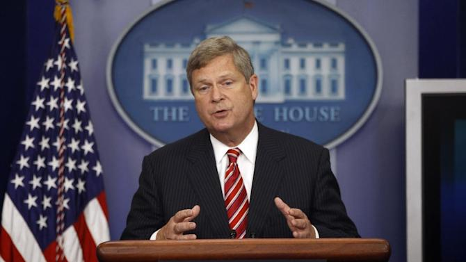 FILE - In this July 18, 2012, file photo, Agriculture Secretary Tom Vilsack talks about the drought during a press briefing at the White House in Washington. The fear that federal crop insurance subsidies are becoming fertile ground for big spending cuts in negotiations over the so-called fiscal cliff has rural lawmakers and their leaders shopping for a compromise on a farm bill this week to protect them. Vilsack warned Thursday, Dec. 13, 2012, that if the congressional agriculture committees don't strike a deal soon then White House and Republicans working to avert the so-called fiscal cliff at the end of the year may cut farm programs that members of Congress want to protect. (AP Photo/Charles Dharapak, File)