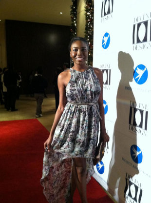 Attending the Divine Design Gala holiday event in a ZARA floral print dress