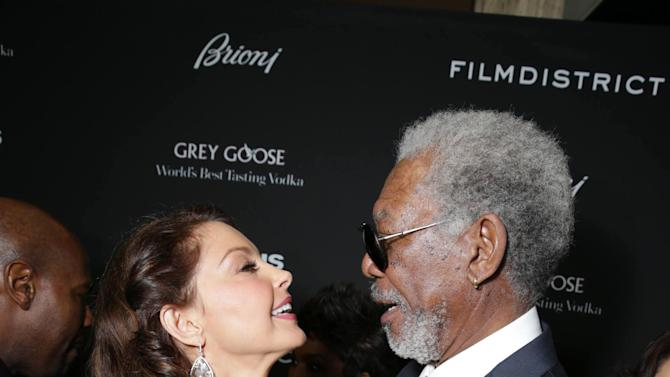Ashley Judd and Morgan Freeman at FilmDistrict's Premiere of 'Olympus Has Fallen' hosted by Brioni and Grey Goose at the ArcLight Hollywood, on Monday, March, 18, 2013 in Los Angeles. (Photo by Eric Charbonneau/Invision for FilmDistrict/AP Images)