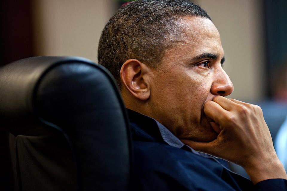 In this image released by the White House, President Barack Obama listens during one in a series of meetings discussing the mission against Osama bin Laden, in the Situation Room of the White House, Sunday, May 1, 2011, in Washington. (AP Photo/The White House, Pete Souza)